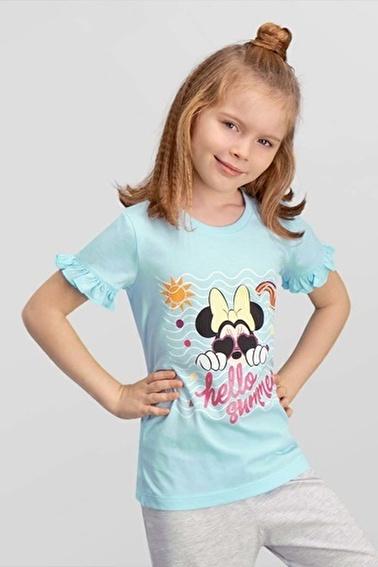 Mickey Mouse  Lisanslı Mavi Kız Çocuk T-Shirt Mavi